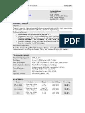 Resume Surendra Java Fresher Java Server Pages Java