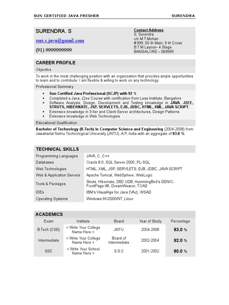 Resume Surendra Java Fresher Java Server Pages Java Programming