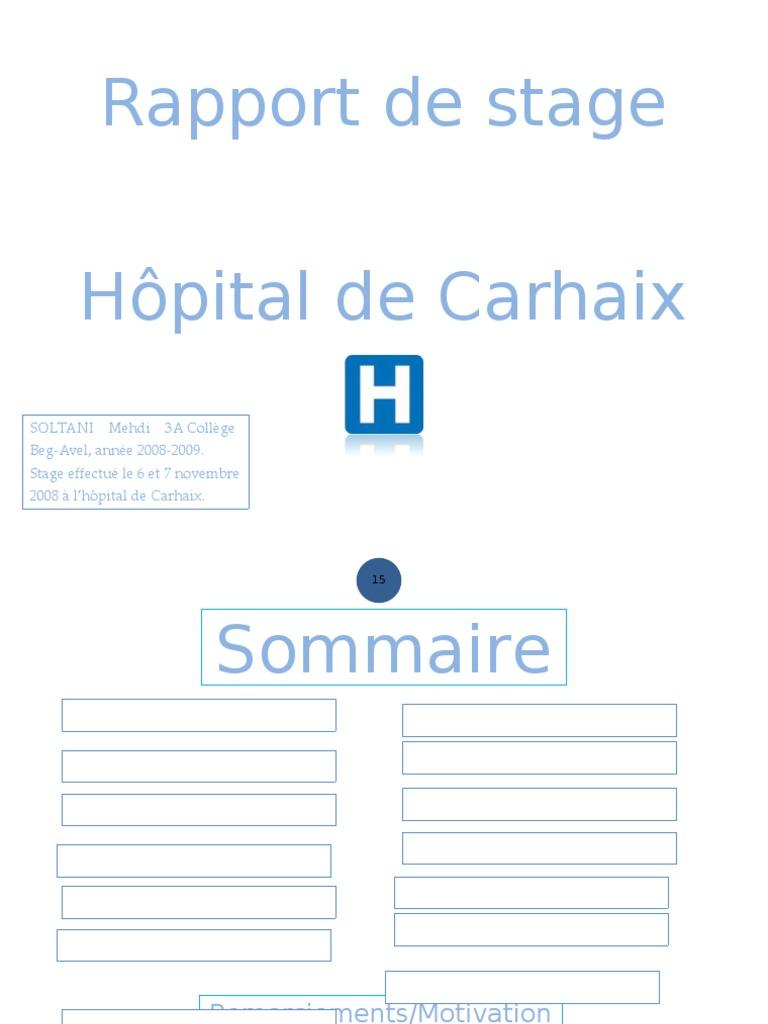 exemple de rapport de stage en pharmacie hospitaliere