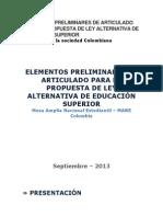 ELEMENTOS PRELIMINARES DE ARTICULADO PARA LA PROPUESTA DE LEY ALTERNATIVA DE EDUCACIÓN SUPERIOR