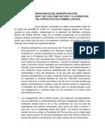 A LA OPINION PUBLICA DEL MUNICIPIO BOLÍVAR