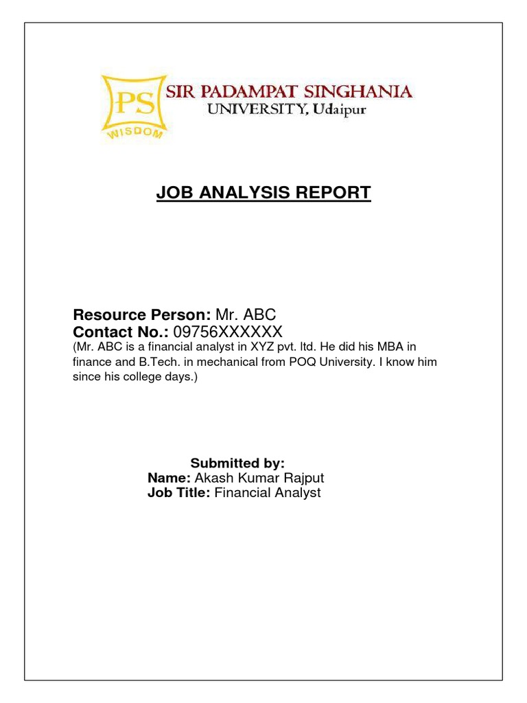Job Analysis For Financial Analyst.pdf | Financial Analyst | Personal  Digital Assistant