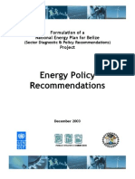 Belize, Energy Policy Recommendations, December 2003