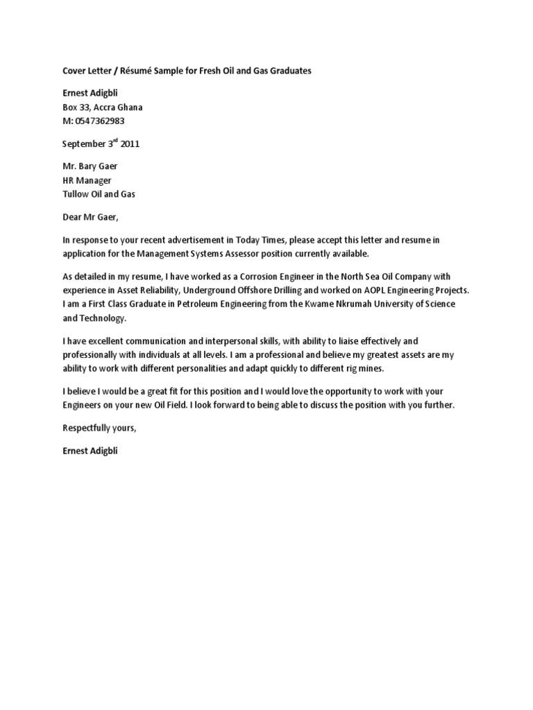 Cover Letter For Fresh Graduate Petroleum Engineer -|- nemetas ...