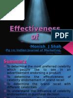 Effectiveness of Celebrity Endorsement - Research