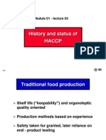 History and Status HACCP