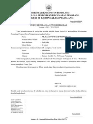 Surat Rekomendasi Pindah Sekkolahdocx
