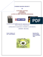 HDFC Bank Ltd. - Customer Attitude Towards ATM Services