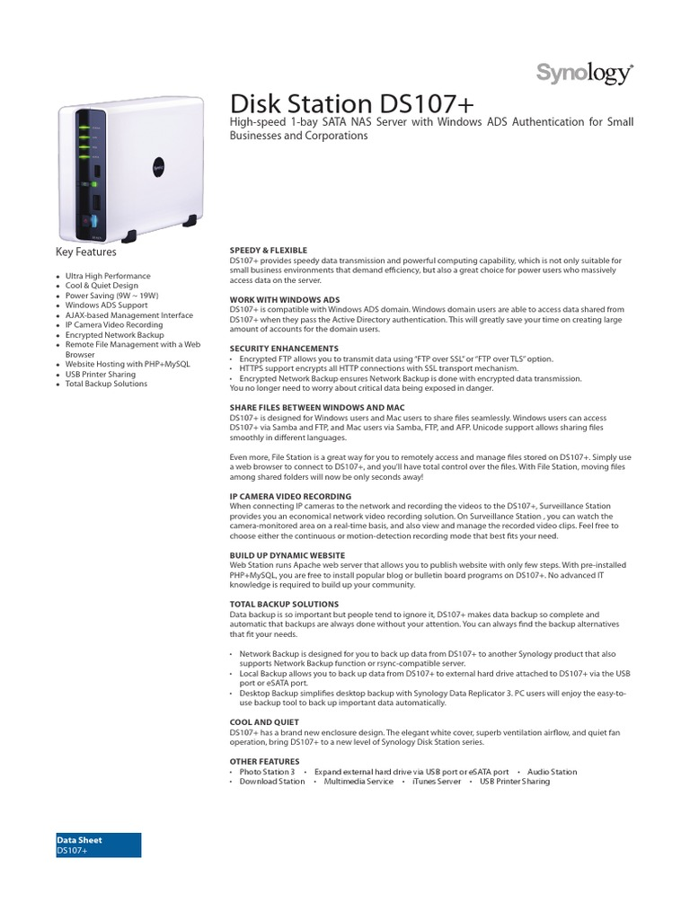 Synology DS107+ Data_Sheet_enu pdf | File Transfer Protocol