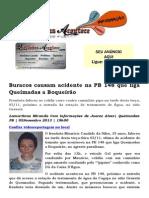 Buracos causam acidente fatal na PB 148 que liga Queimadas a Boqueirão
