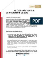 Agenda comisión sexta nov 6