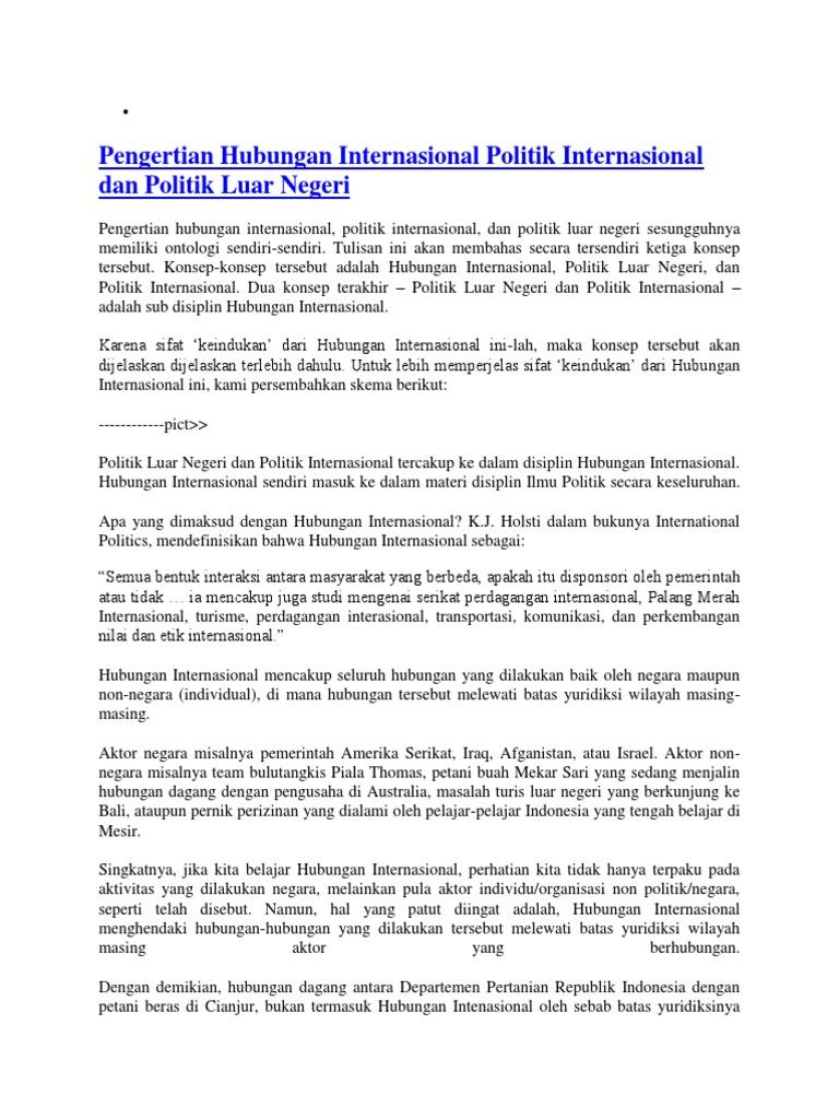 Pengertian Hubungan Internasional Politik Internasional Dan Politik Luar Negeri Docx
