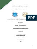 Proyecto de Inversion Para La Creacion de Un Parque Acuatico