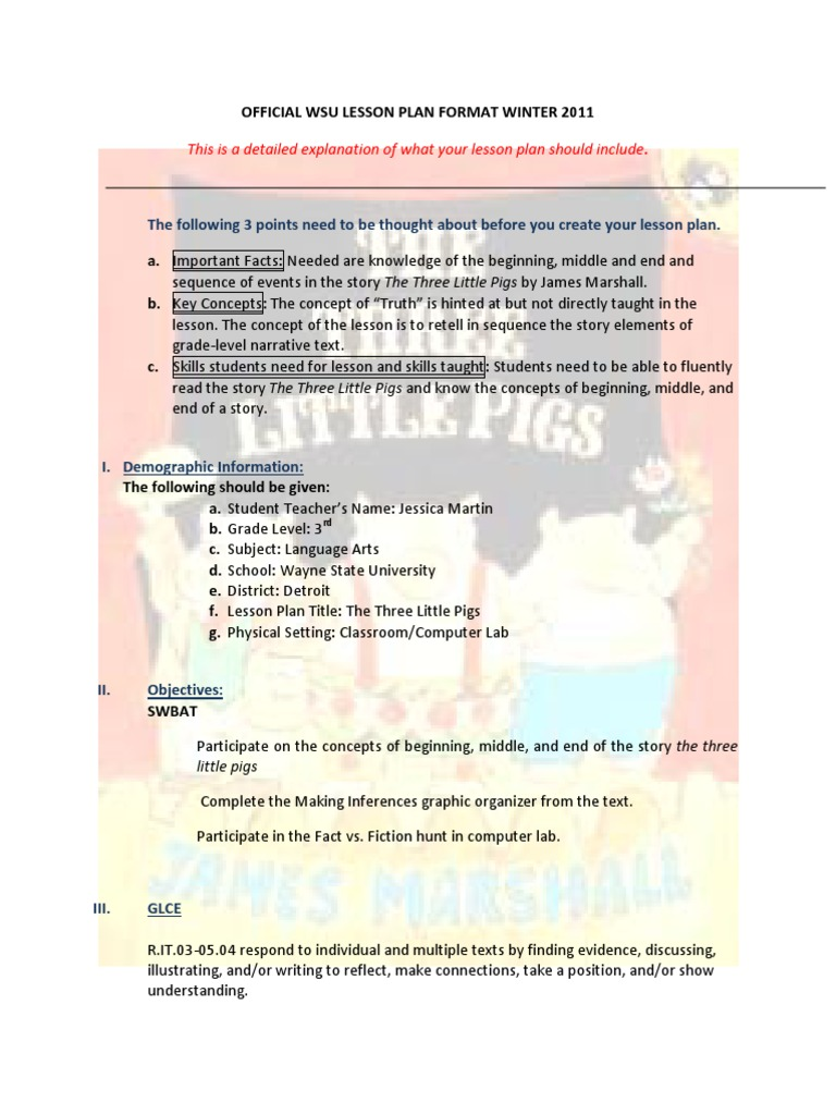 jessica martin lesson plan two the three little pigs reading