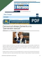 """El Heraldo de Aguascalientes - Censura el obispo fomento a la """"perversión sexual"""""""