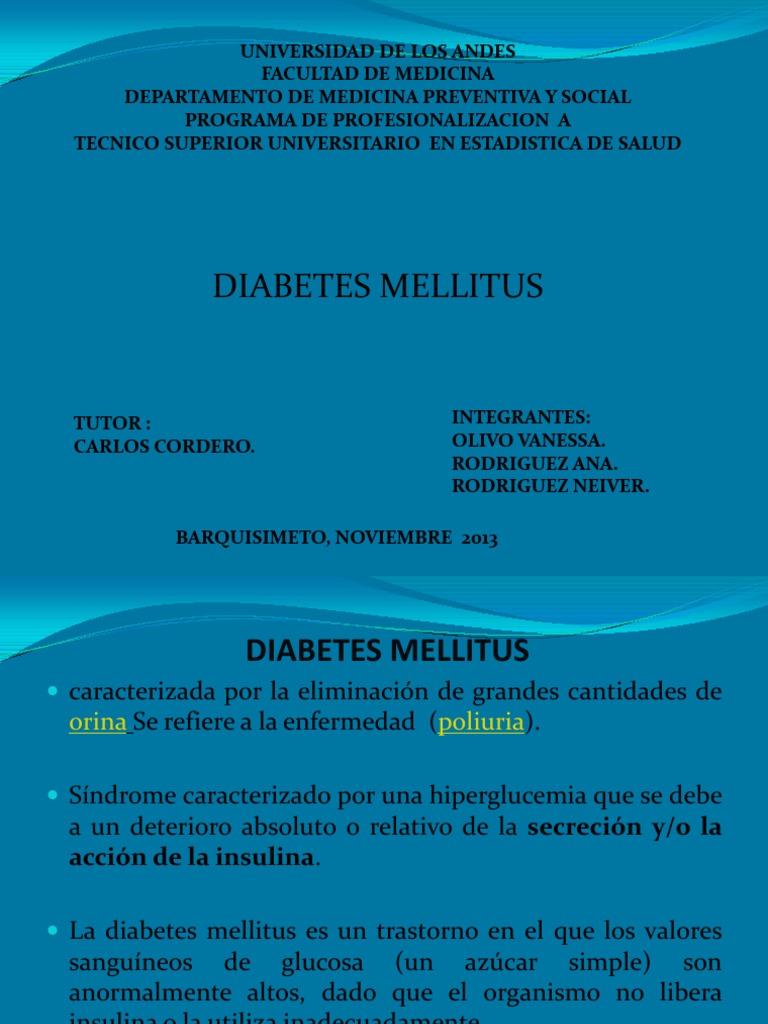 Diabetes mellitus definición ppt presentación