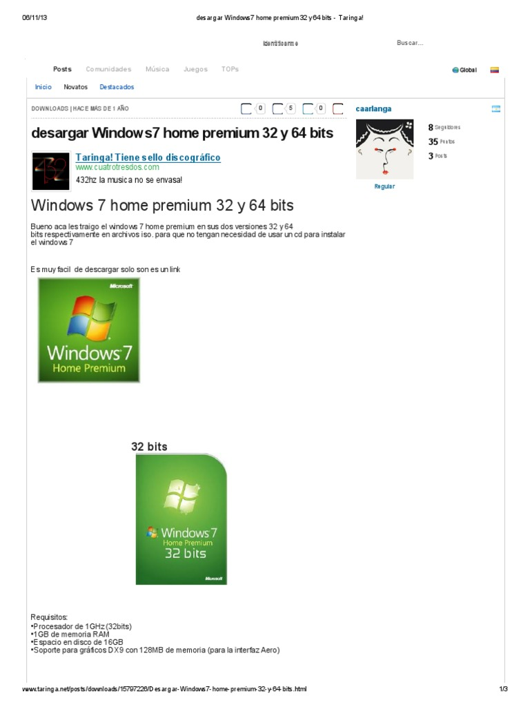 windows 7 home premium 32 y 64 bits. español. original