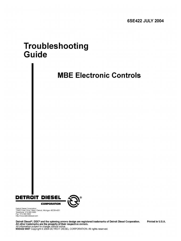 mbe electronic controls trblshtng guide fuse electrical throttle rh scribd com Mercedes MBE 4000 Engine Problems Mercedes MBE 4000 Engine Problems