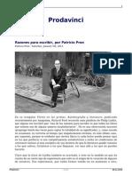 Razones Para Escribir Por Patricio Pron