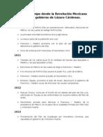 Línea de tiempo desde la Revolución Mexicana hasta el gobierno de Lázaro Cárdenas