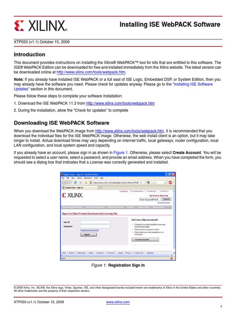 Xilinx Webpack Installation Manual pdf | Installation