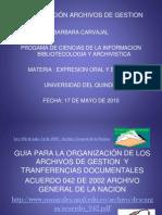 Archivos de Gestion, Organizacion