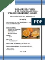 Extraccion de Aceite Esencial de Naranja
