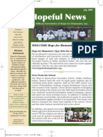 Hope for Humanity July 09 Newsletter