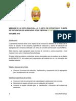 MEMORIA DE LA VISITA REALIZADA  AL PLANTEL Y  PLANTA DE EXTRACCIÓN DE AGREGADOS DE LA EMPRESA DCONCRETO --GRACIA AMAYA