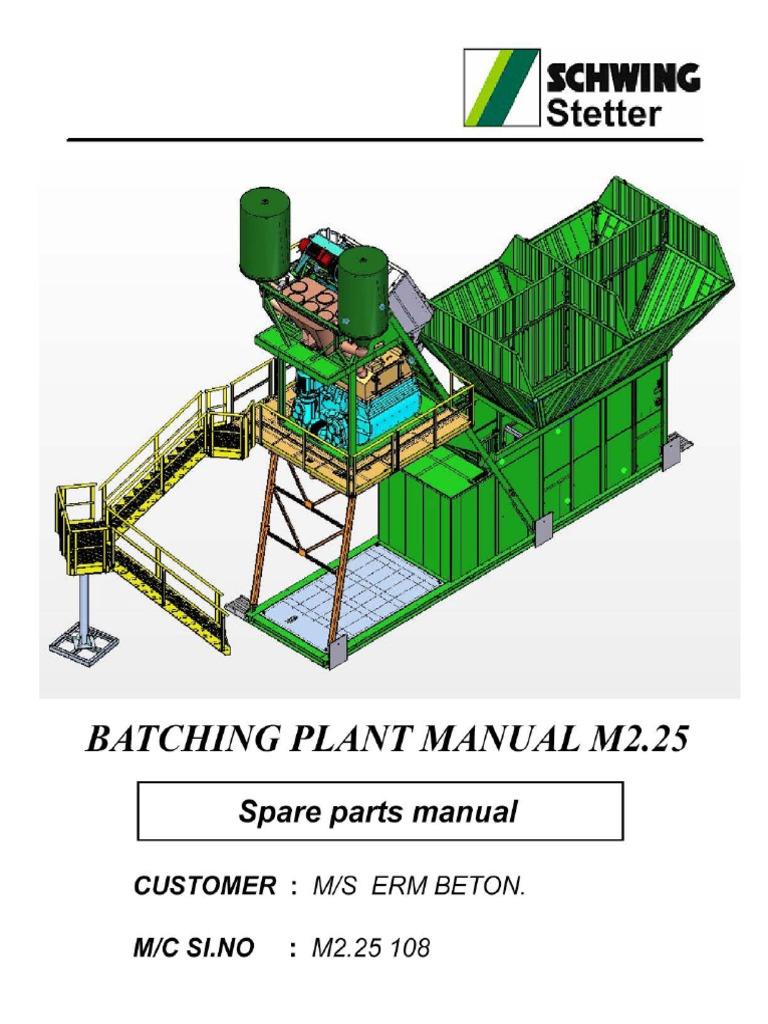 spare parts manual m2 25 108 pdf rh es scribd com Schwing Bankruptcy Schwing's Covington