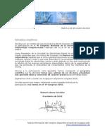 Carta de agradecimiento a los ponentes