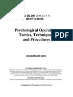 Psychological Operations (PSYOPS), Tactics, Techniques, And Procedures - US Department of Defense Manual