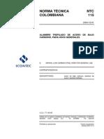NTC 115-2004 Alambre Trefilado Bajo Carbono Para Usos Generales