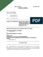 Cour d'appel du Québec - Projet de loi fédéral relatif au Sénat