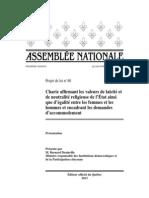 Projet de loi 60 - Charte affirmant les valeurs de laïcité