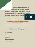 Propuesta Democrática para Congreso Nacional de Acción Popular elección Presidente y Vicepresidente del partido