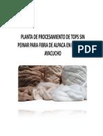 Propuesta Tecnica y Economica Planta de Tops de Fibra de Alpaca Sin Peinar