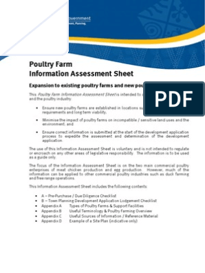 Info Assessment Sheet Poultry Farms | Poultry Farming | Chicken