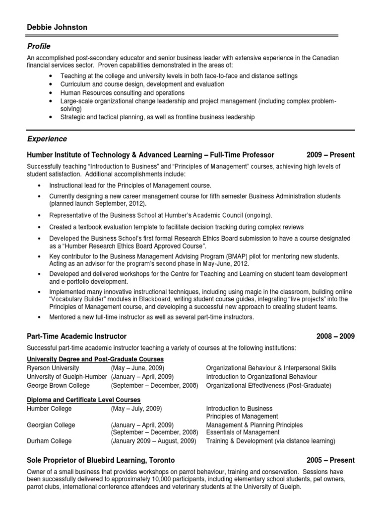 Resume Of Debbie Johnston Human Resource Management Business