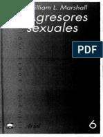 William L Marshall. ÔÇ£Agresores SexualesÔÇØ. Editorial Ariel. Barcelona, 2001pdf. Barcelona, 2001pdf. Barcelona, 2001
