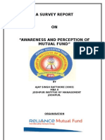 Awareness n perception of reliance mutual fund by ajay rathore
