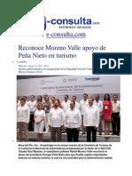 14-08-2013 e-consulta.com - Reconoce Moreno Valle apoyo de Peña Nieto en turismo