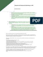 Questões e Respostas de Pesquisa de Marketing e o SIM