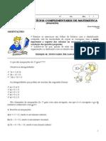 10 Lista de Exercicios Complementar de Matematica Inequacoes Professora Lucimara 7 Ano a B Unidade I e 7 Ano a Unidade II