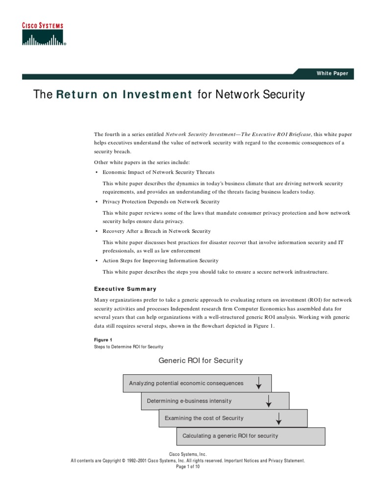 The return of investment for network security electronic business computer security
