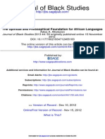 The Spiritual and Philosophical Foundation for African Languages