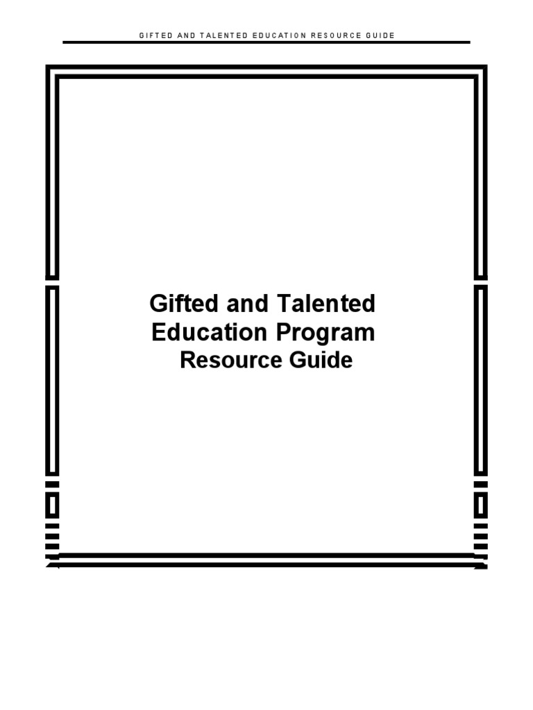 Gifted and Talented Education Program: Resource Guide