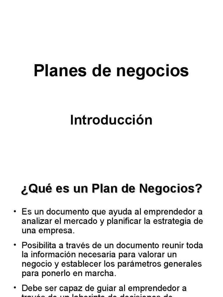 planes de negocios introducción