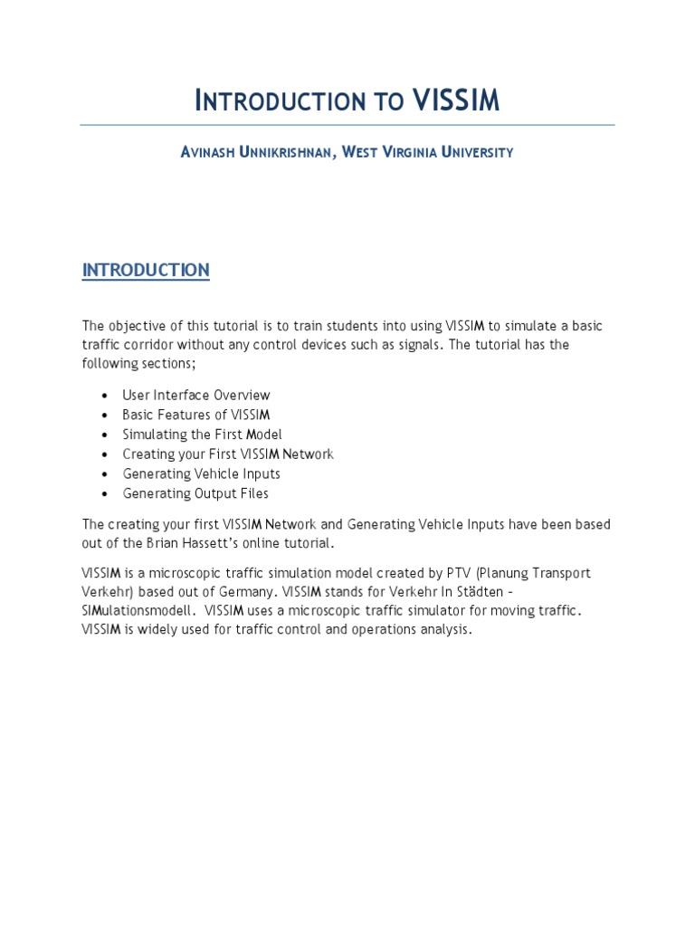 introduction to vissim simulation lane rh scribd com