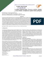 Antimicrobial Activity of Two Indian Medicinal Plants Tinospora Cordifolia Family Menispermaceae and Cassia Fistula Family Caesalpinaceae Against Human Pathogenic Bacteria.